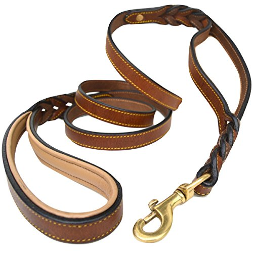 Double Handle Control (Soft Touch Collars, 6 Foot Braided Leather Dog Leash with Traffic Handle, Two Handles for Training and Safety, Double your Control with 2 Locations, Lead for Large and Medium Dogs Brown 6ft x 3/4 Inch)