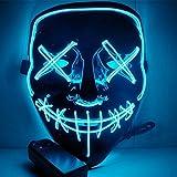 Leezo Frightening Halloween Mask Cosplay LED Light up Mask for Festival Party Black