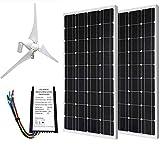 ECO-WORTHY 24 Volts 600 Watts Wind Solar Power: 12V/24V 400W Wind Turbine + 2pcs 12V 100W Monocrystalline Solar Panel + 24cm Cable with MC4 Connector