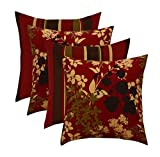 RSH Décor Set of 4 Indoor/Outdoor Square Throw pillows (17''x17'') (Sangria Floral and Stripe)