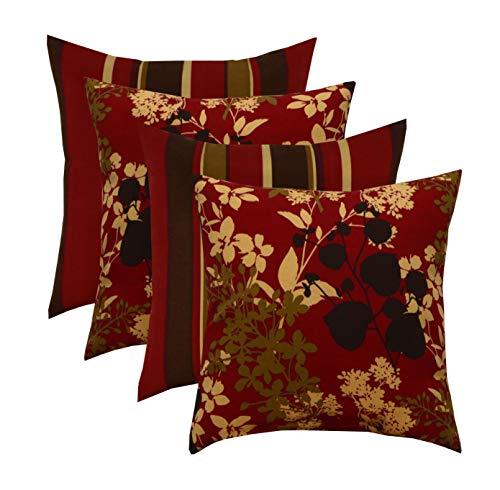 RSH Décor Indoor Coordinating Fabric Decorative Throw/Toss Pillow Set ~ 2 - Brown, Red, Tan Stripe & 2 - Montfleur Sangria Floral - Choose Size (17