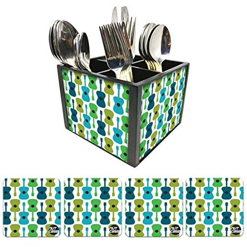 Nutcase Designer Flatware Cutlery Stand Holder Silverware Caddy-Spoons Forks Knives Organizer With Matching Metal Coasters - Guitar Everywhere