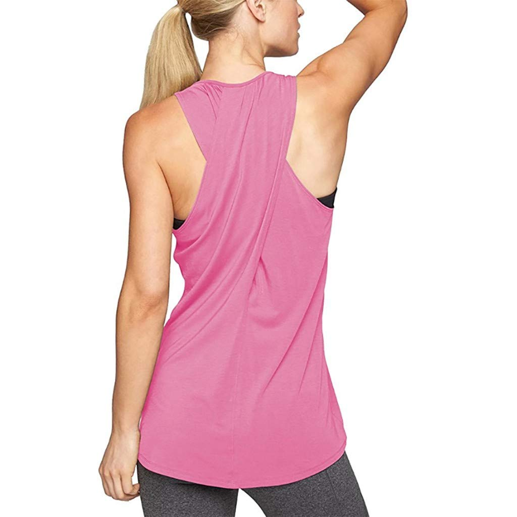 Workout Tops for Women Loose Fit Racerback Tank Tops Backless Muscle Tanks Running Shirts Vest