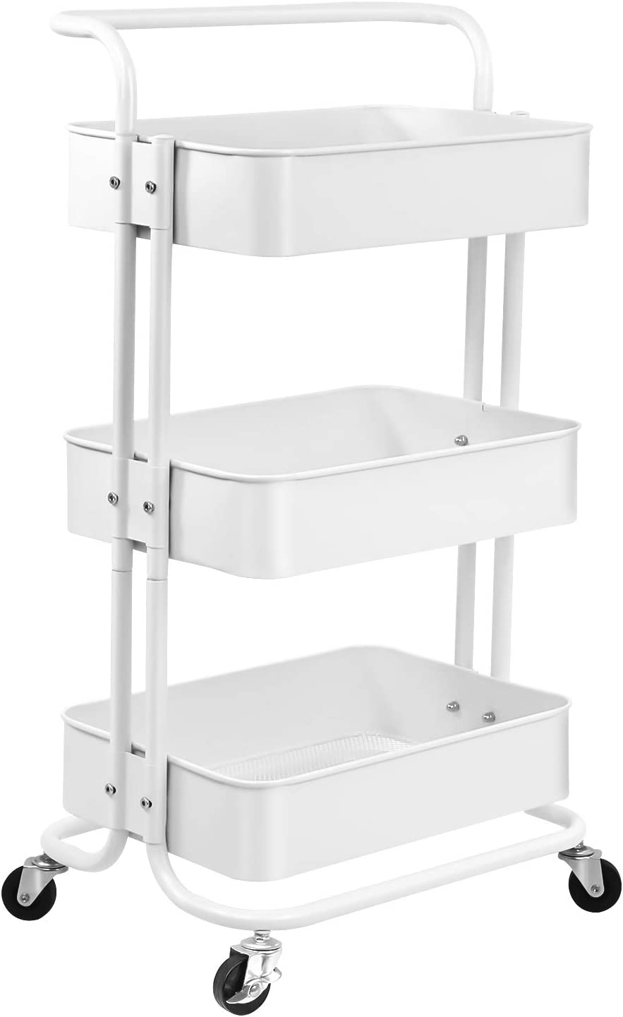 Metal Rolling Cart, 3-Tier Rolling Utility Cart with Handle Mobile Storage Organizer Cart Craft Cart with Lockable Wheels for Kitchen, Bathroom, Office, Coffee Bar, Easy Assembly