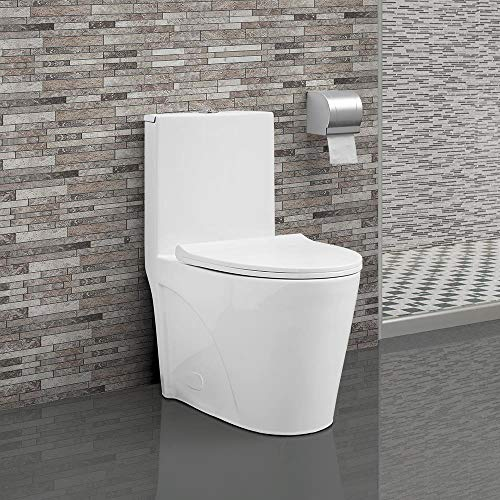 Swiss Madison SM-1T254 St. Tropez One Piece Toilet Dual Tornado Flush 0.8/1.28 GPF with Soft Closing Seat, Comfort - Flush Low Toilet