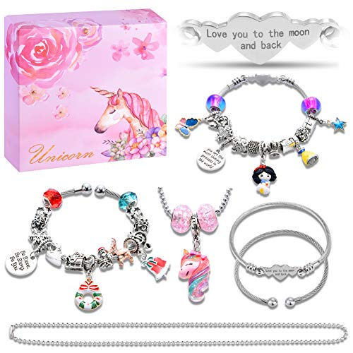 DIY Charm Bracelet Making Kit, Fairytale Princess Themed Jewelry Making Supplies Bead Chain Jewelry Gift Set for Girls Teens