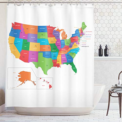 State Curtain Shower Washington - Ambesonne Wanderlust Shower Curtain by, Colorful USA Map with States and Capital Cities Washington Florida Indiana Print, Fabric Bathroom Decor Set with Hooks, 70 Inches, White Green
