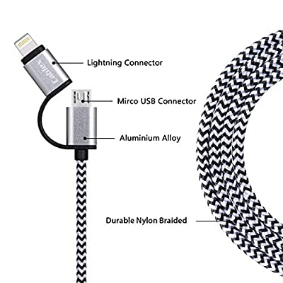 Cablex 2Pack 6FT 2 in 1 Lightning and Micro USB¡
