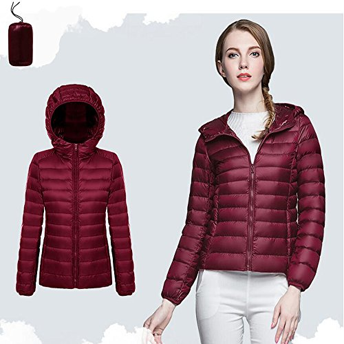 Short BOZEVON Weight Women's Hooded Coat Packable Jacket Down Ultra Wine Red Outdoor Light YwYaArq