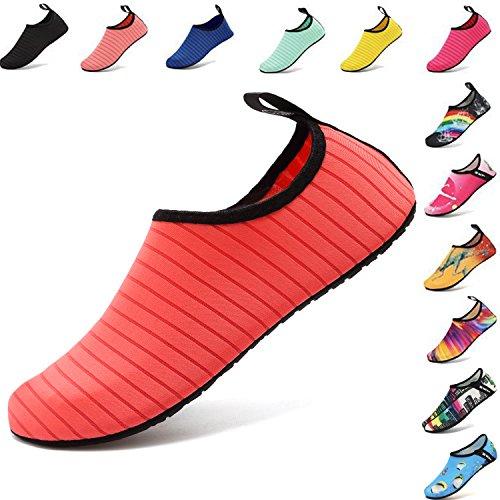 VIFUUR Water Sports Shoes Barefoot Quick-dry Aqua Yoga Socks Slip-on for Men Women Kids Pink-40/41