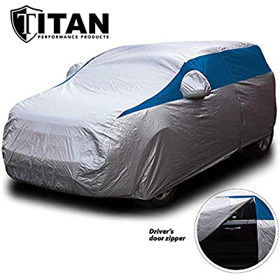 Titan Lightweight Car Cover (Bondi Blue). Compact SUV Fits Toyota RAV4, Honda CR-V, Nissan Rogue, and More. Waterproof Cover Measures 187 Inches, Includes a Cable and Lock and Driver-Side Door Zipper.: Automotive
