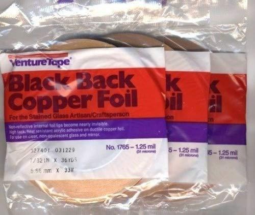 3 Rolls - value pack 7/32 inch Venture Black Backed Copper Foil