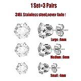 U7 Jewelry Stainless Steel Womens CZ Stud Earrings Set Piercing,3 Pairs