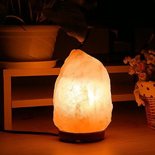 Homdox Himalayan Salt Lamp Natural Air Purifier Crystal Rock Salt Light with Dimmable Switch Wood Base for Bedroom, Office Table Decoration (5.5 Inch)
