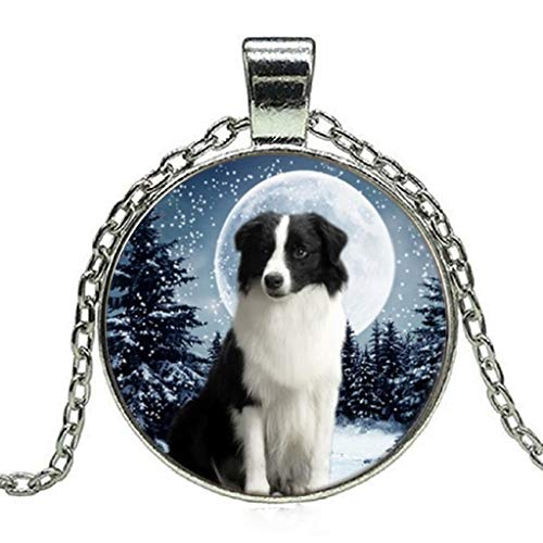 Border Collie & Moon Photo Tibet Silver Cabochon Glass Pendant Chain Necklace