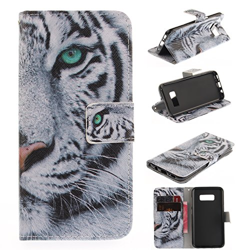 Galaxy S8 Case, SeiroKern - PU Leather Case Wallet Flip Stand [Magentic Flap Closure] Case Skin Cover Pouch + Touch Stylus for Samsung Galaxy S8 (Cool Half Face - Zebra 0000