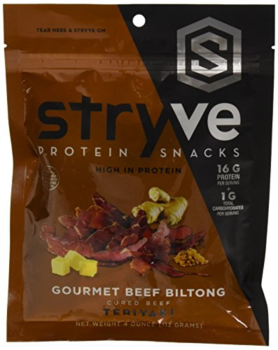 Stryve Teriyaki Biltong | No Fat, Low Carb, Low Sugar | 16g Protein | 4oz | Gluten Free and Ketogenic