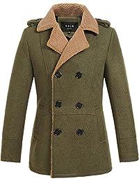 SSLR Men's Double Breasted Slim Wool Coat