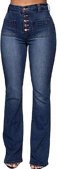 Womens High Waist Boot Cut Buttons Stretch Pockets Denim Jeans Pants