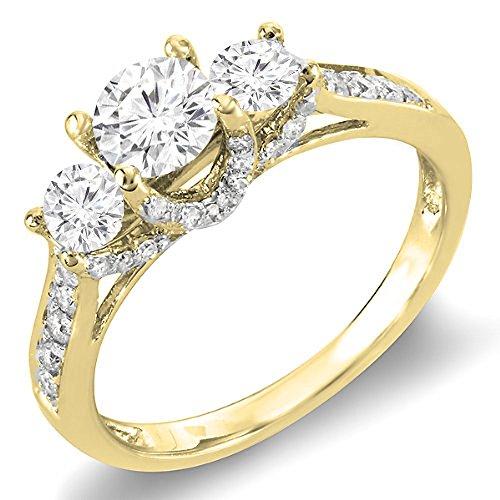 (Dazzlingrock Collection 0.98 Carat (ctw) 14K Yellow Gold Round Diamond 3 Stone Vintage Bridal Engagement Ring 1 CT (Size 10))