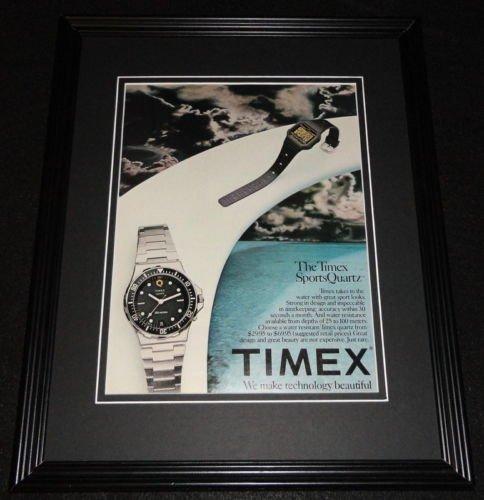 1982-timex-sports-quartz-watch-11x14-framed-original-vintage-advertisement