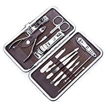 Stainless Steel Personal Manicure & Pedicure Travel & Grooming Kit 12 in 1