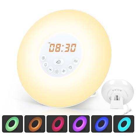Luces-despertador Wake Up Light Despertador con Luz (Simulación de Amanecer/Atardecer, Control Táctil, Función Snooze/Radio FM, 7 Colores/6 Sonidos, ...