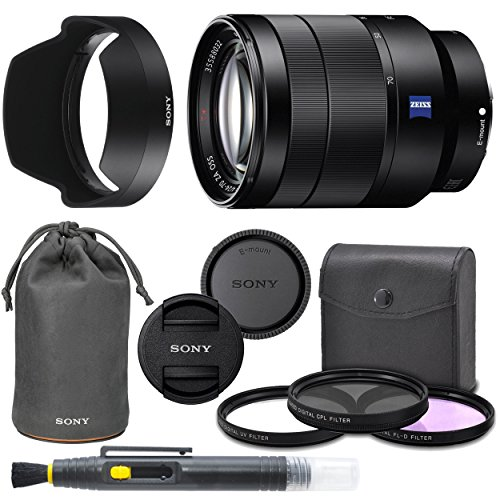 Sony Vario-Tessar T FE 24-70mm f/4 ZA OSS Lens with Sony Lens Pouch, UV Filter, Circular Polarizing Filter, Fluorescent Day Filter, Sony Lens Hood, Front & Rear Caps - International Version