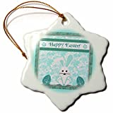 3dRose Beverly Turner Easter Design and Photography - Teal Green Bunny, Big Feet and Eggs, Flower Background, Happy Easter - 3 inch Snowflake Porcelain Ornament (orn_276187_1)