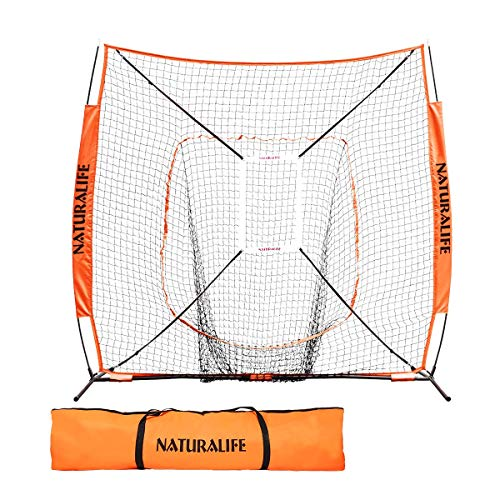 Naturalife 7x7ft Baseball and Softball Practice Net with Strike Zone Target for Practice Hitting, Pitching, Batting and Catching Yellow