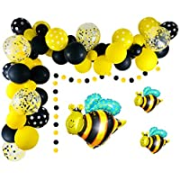 Bumblebee Balloons Garland Kit, 59 Pcs Yellow Black Polka Dot Balloons Matte Balloons Bee Confetti Balloons Foil Balloons Golden Ribbon for Bee Themed Party Decoration, Baby Shower, Graduation, Honey Birthday Party Supplies