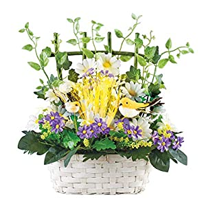 Spring Floral Tabletop Centerpiece Basket with Color Changing Fiber Optics - Features Greenery on Trellis and Two Birds 10