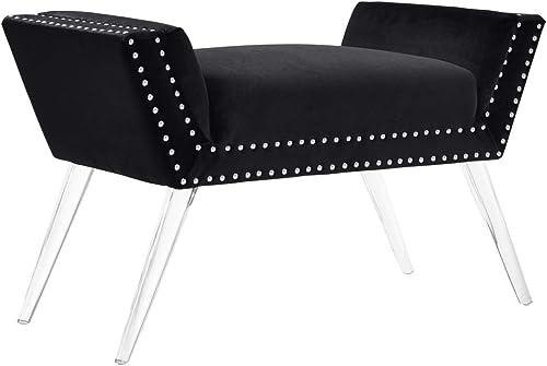 Linon Clara Black Acrylic Leg Bench