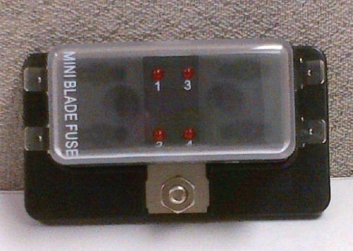 MINI BLADE FUSE BLOCK HOLDER WITH LED INDICATOR MARINE BOAT 4 GANG NEW PATENT ()