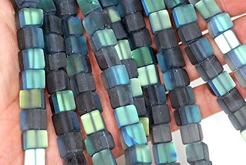(12MM Mystic Aura Quartz Gemstone Matte Titanium Grey Square Cube Loose Beads 7