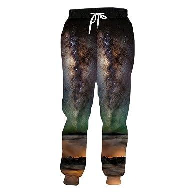 Bridfa 3D Print Nightfall Space Jogers Pantalón Hombre/Mujer ...