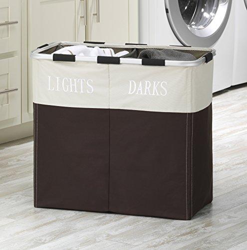 Whitmor Easycare Double 2 Section Laundry Hamper Espresso