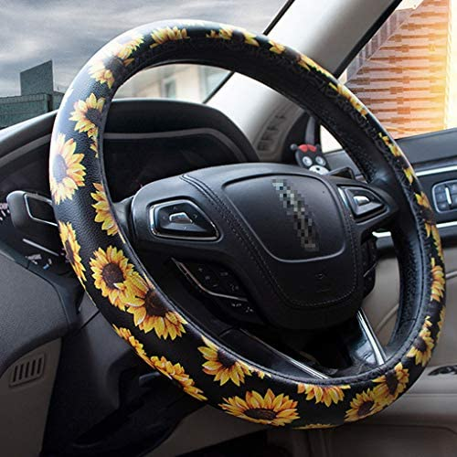 Universal 15 Inch Black-Blue Breathable Aierxuan Microfiber Leather Steering Wheel Cover.Anti-Slip Warm in Winter and Cool in Summer