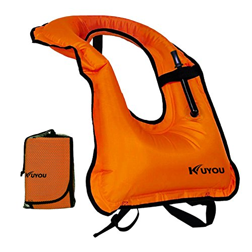 - KUYOU Inflatable Snorkel Vest Adult Life Jackets for Snorkeling/Paddle/Swimming/Free-Diving Dive, Safety Load Up To 220 Ibs(Orange)
