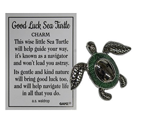 - Ganz Good Luck Sea Turtle Pocket Charm with Story Card (Green)