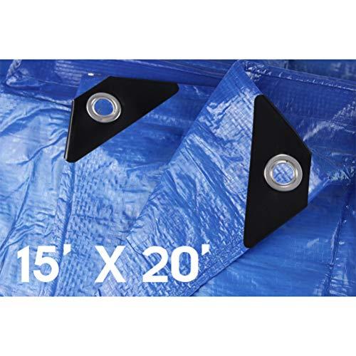Hanjet Waterproof Tarps 15 x 20 5 Mil Thick Rain Covers Drop Cloths Camping Tents Tarp Blue