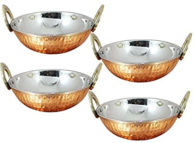 Avs Stores Set of 4, Indian Copper Serveware Karahi Vegetable Dinner Bowl with Solid Brass Handle for Indian Food, Diameter- 13 Cm (5.2 Inches)