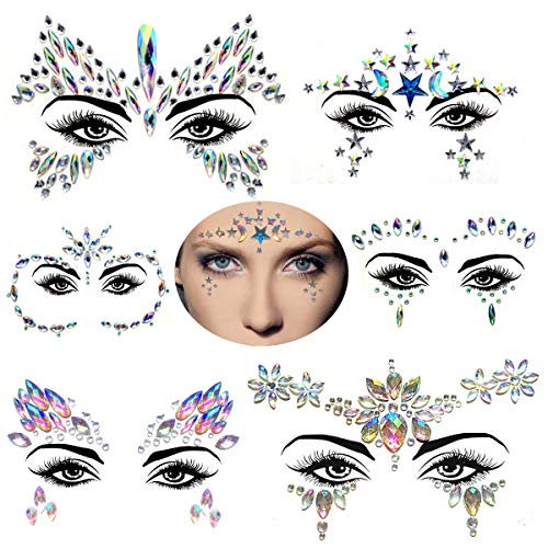 6Sets Temporary Tattoos for women Face Jewels stickers Glitter Face Gems Rhinestones - Eye Body Gems | Rhinestone Stickers | Body Glitter Festival Rave & Party Accessories