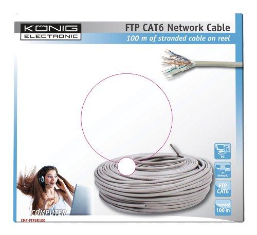 König CMP-FTP6R100 - Cable de red FTP categoría 6 en bobina, 100 m: Amazon.es: Informática