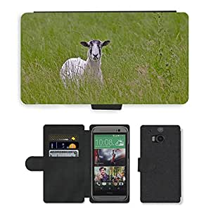 Super Stella Cell Phone Card Slot PU Leather Wallet Case // M00145752 Sheep Grass Animal Green Summer // HTC One M8
