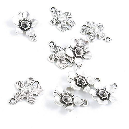 Price per 820 Pieces Antique Silver Tone Jewelry Making Charms Supply G5LY2 Cherry Blossom Connector ()