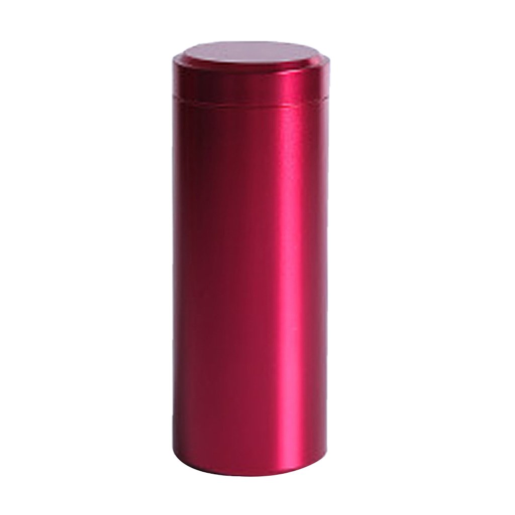 Homyl 6 Colors Aluminum Alloy Loose Leaf Tea/Coffee/Spice Tin Container Round Canister Sealed Can Box - Brown