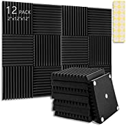 """Acoustic Panel Polyurethane Foam Sound Proof Acoustic Treatment Room Kit for Absorbing Sound on Walls, 2"""""""