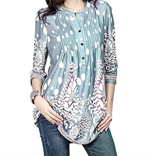 Top Tunic Burnout Floral (FEITONG Women 3/4 Sleeve Circular Neck Floral Tunic Tops Loose Blouse Irregular Hem T-Shirt (XX-Large,Sky Blue))