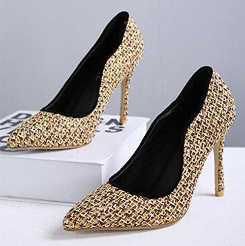 Idifu Mujer Elegante Impreso Tacones De Aguja Alto Slip On Bombas Zapatos De Oro